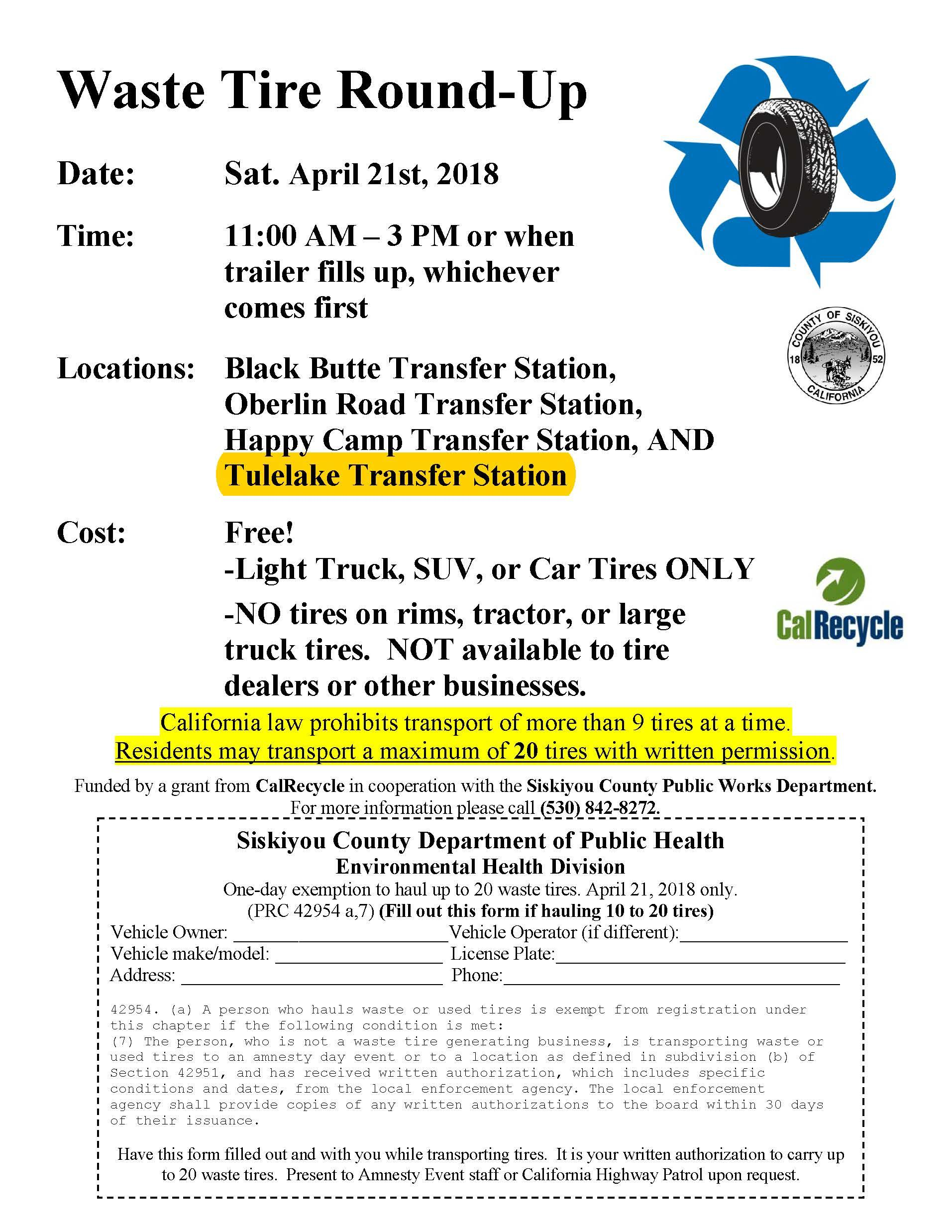 Earth Day Tire Amnesty Event